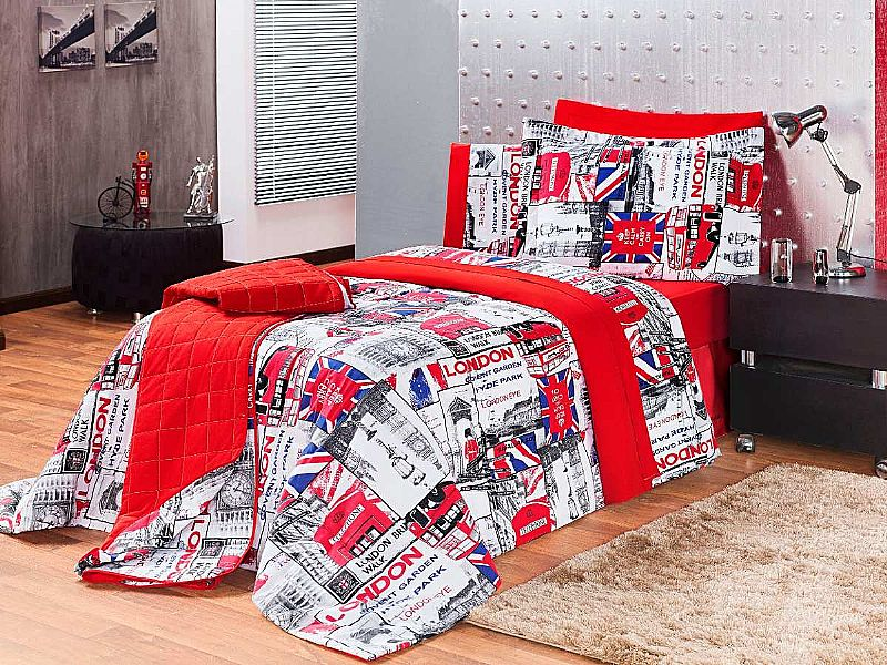 Acolchoado Solteiro Infantil Adulto 6 Pcs Boys London 100% A
