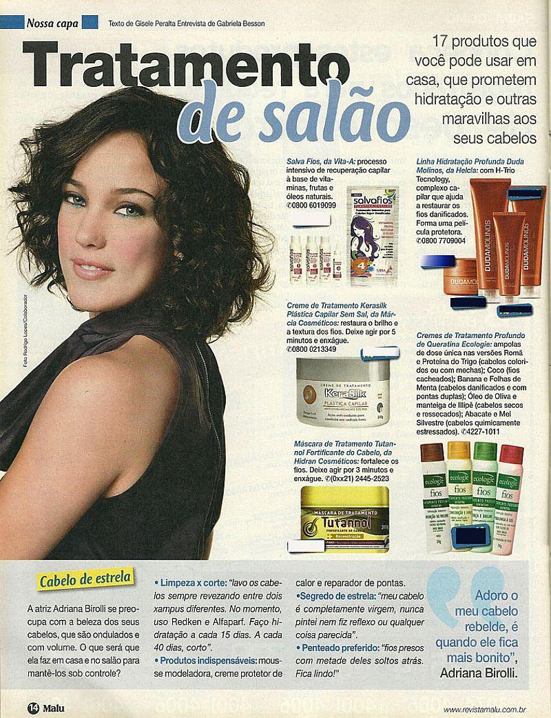 Adriana Birolli,   Fios Hidratados Durante Banho,   Revista Malu nº 402,   Edicao Especial