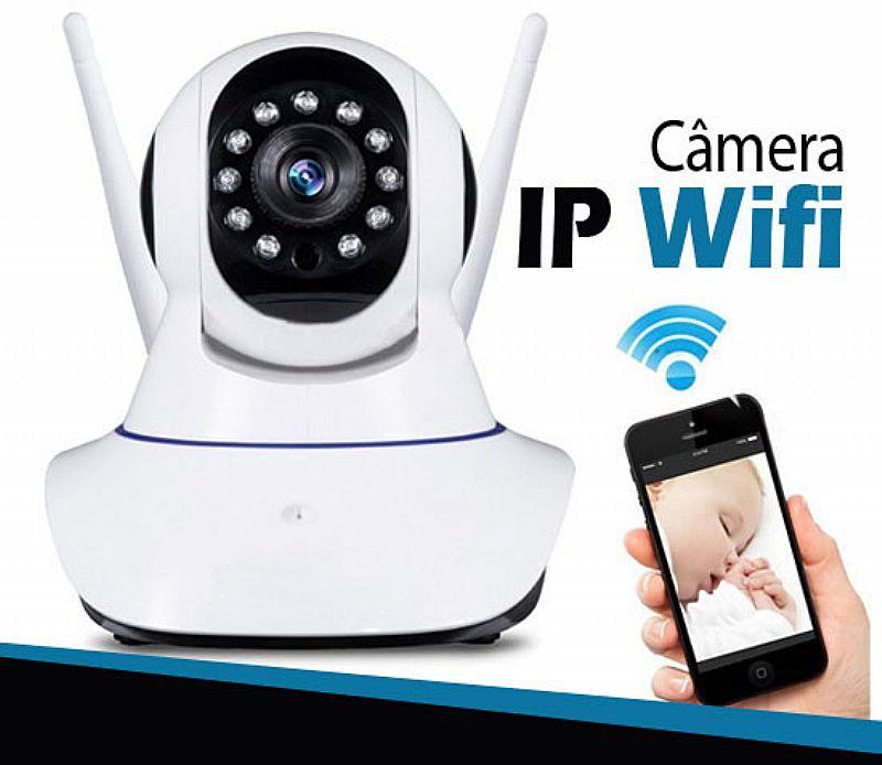 Cameras ip sem fio hd 720p 1.3 mp wi-fi noturna gira 360 graus - frete gratis