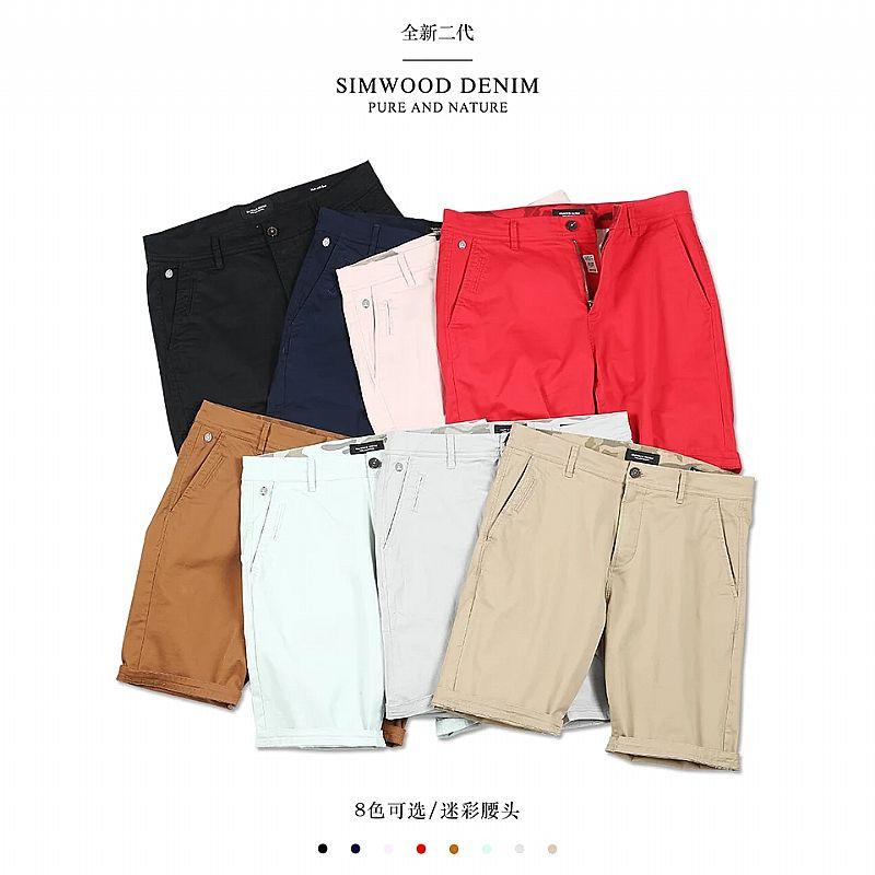 Camiseta Simwood 2019 verao nova calcoes solidos dos homens do algodao slim fit na altura do joelho ocasional dos homens roupas de alta qualidade plus size 9 cor disponivel