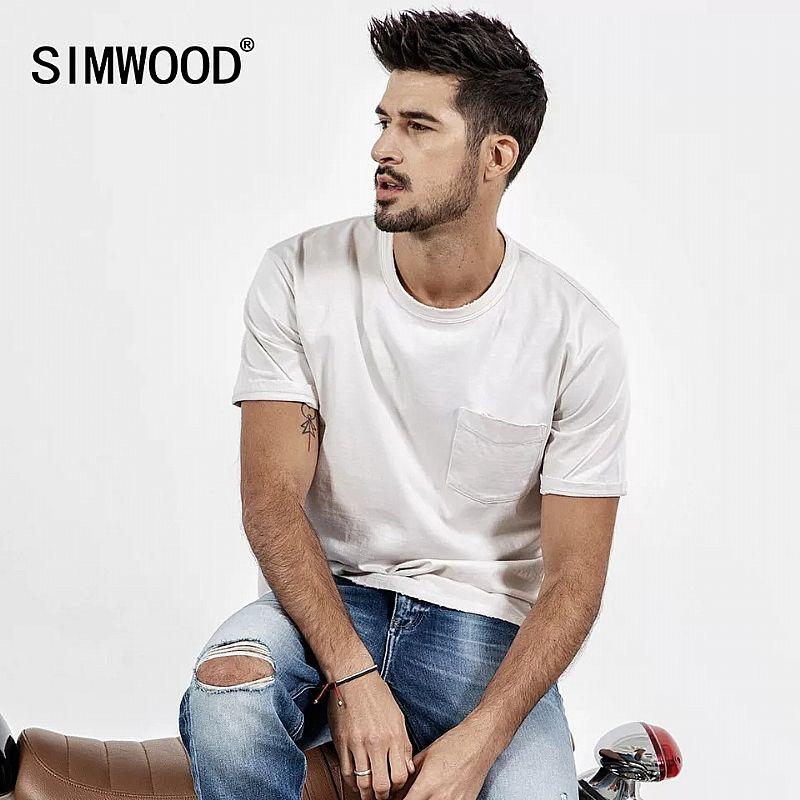 Camiseta Simwood 2019 nova camisa do verao t dos homens de manga curta o-pescoco t-shirt impressao casual tops marca do vintage quebrado t masculino camiseta 190071