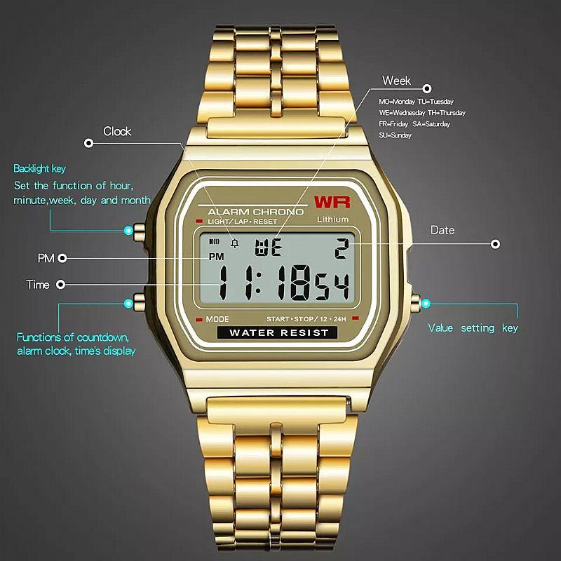Relogio tempo zero 501 nova digitalwatch led digital à prova d agua relogio de pulso de quartzo vestido relogio de pulso de ouro dos homens das mulheres de luxo frete gratis