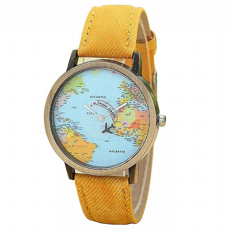 Relógio masculino 501 2019 nova moda global de viagens de aviao mapa mulheres dress watch tecido denim banda de luxo presentes casuais livre gratis