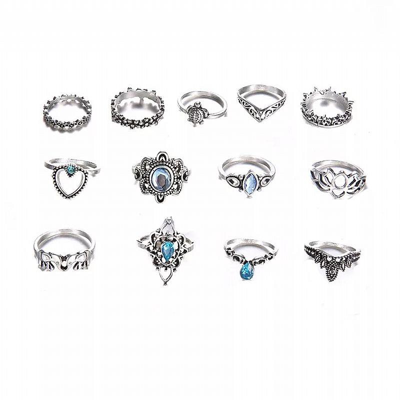 Anel  zero 501 2019 nova moda feminina bohemian vintage prata aneis de pilha de cristal acima knuckle aneis set de luxo frete gratis