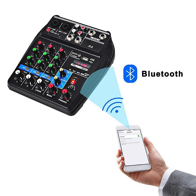 Mesa de som áudio mixer 4c interface usb bluetooth fx delay