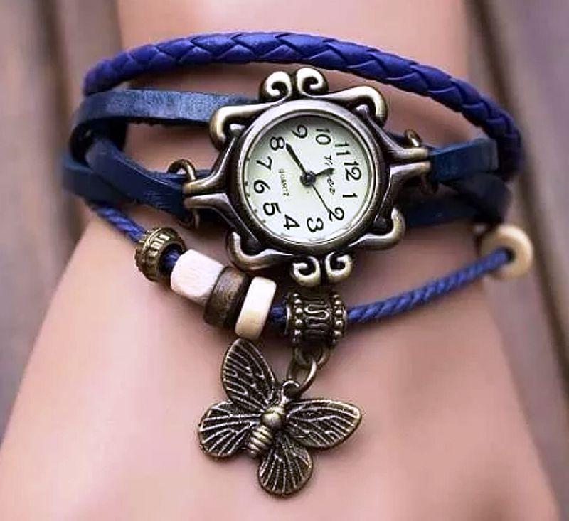 Frete gratis,   relogio feminino com pulseira de couro e pingente borboleta
