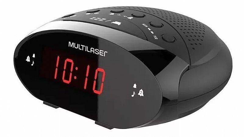 Radio relogio multilaser digital 3w rms fm preto sp352 loi