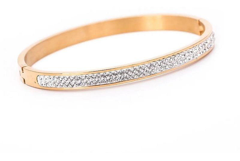 Pulseira bracelete feminino aco inox j-268 banhado ouro 18k