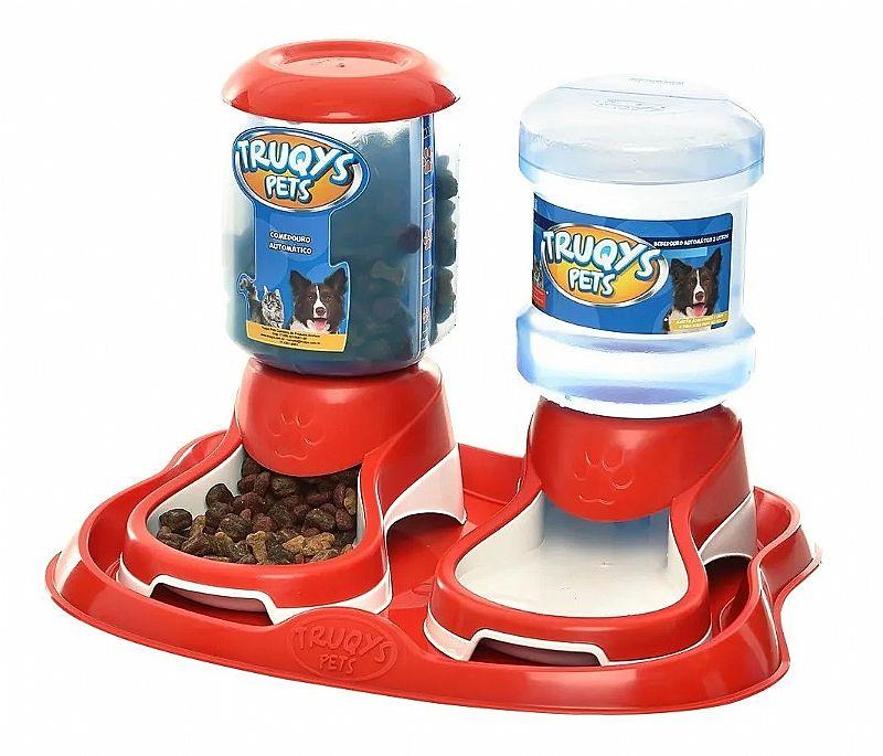 Comedouro duplo para cachorros e gatos bebedouro automatico marca truqys