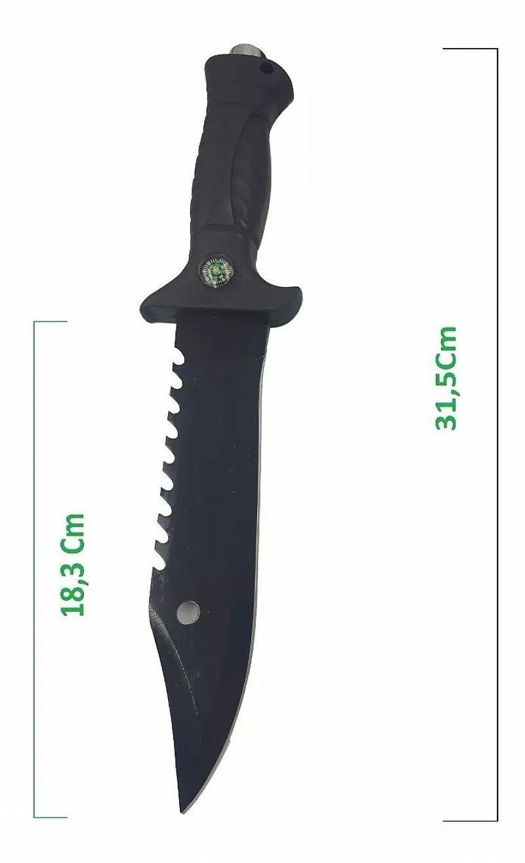 Faca militar tatica pesca caca bussola preta afiada  bainha marca top 10 modelo 698