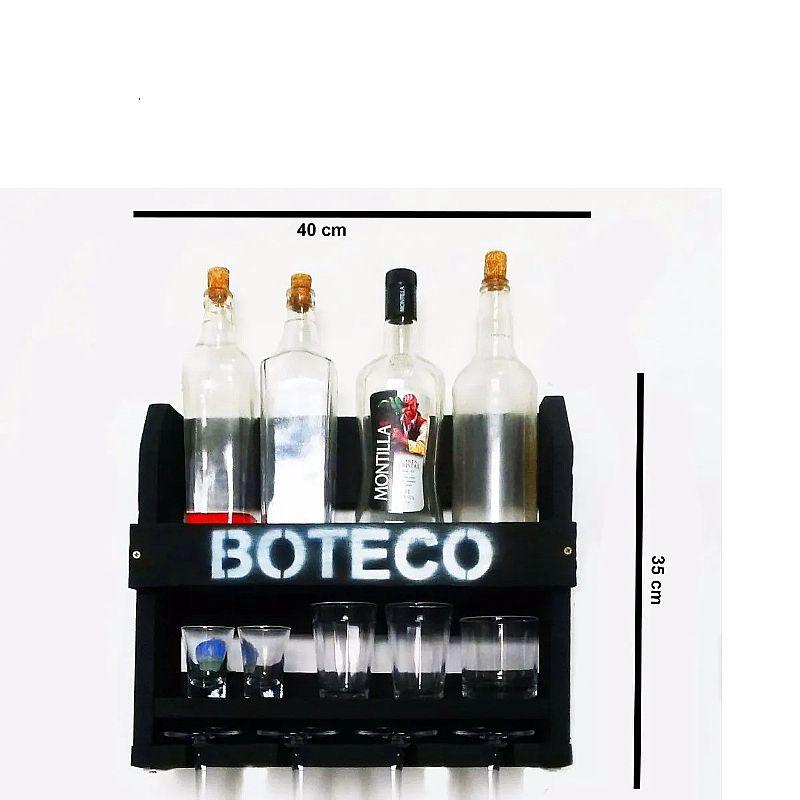 Bar de parede rustico preto adega suporte boteco 4 tacas  fabricante art woodstock marca art woodstock