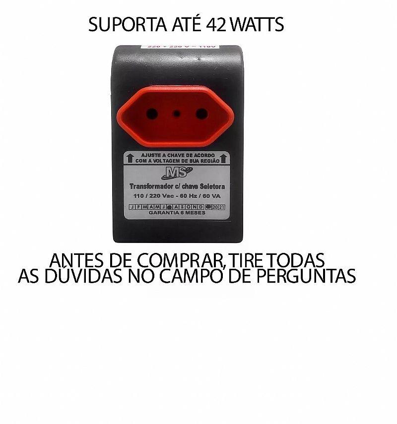 Conversor de voltagem transformador 110-220v ou 220-110v 42w  caracteristicas      marca     ms     modelo     atp-va-007      tensoes de entrada 127/220     tensoes de saida 220/127 potencia maxima suportada 42 w frequencia 60 hz