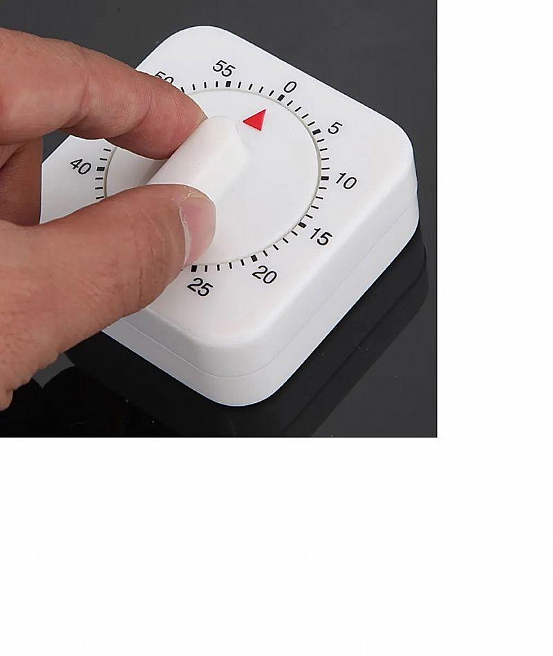 Temporizador timer de cozinha manual quadrado 60 min relogio marca ke home  modelobranco