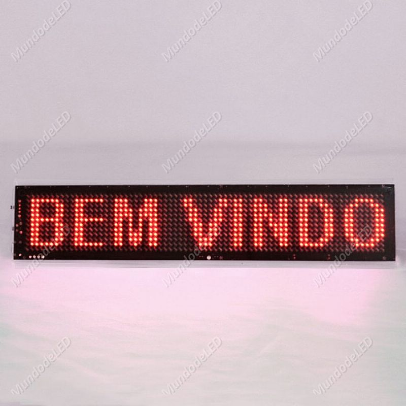 Mini Letreiro Luminoso e Relogio Portatil 23x5cm Usb Painel De Led