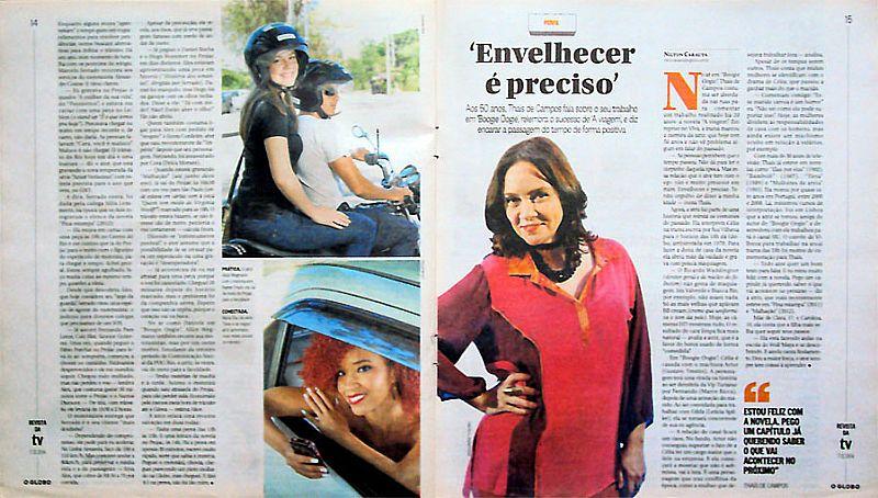Adriana Birolli,   Atores de Imperio Usam Transportes Alternativos,   Revista da TV de 7-12-2014
