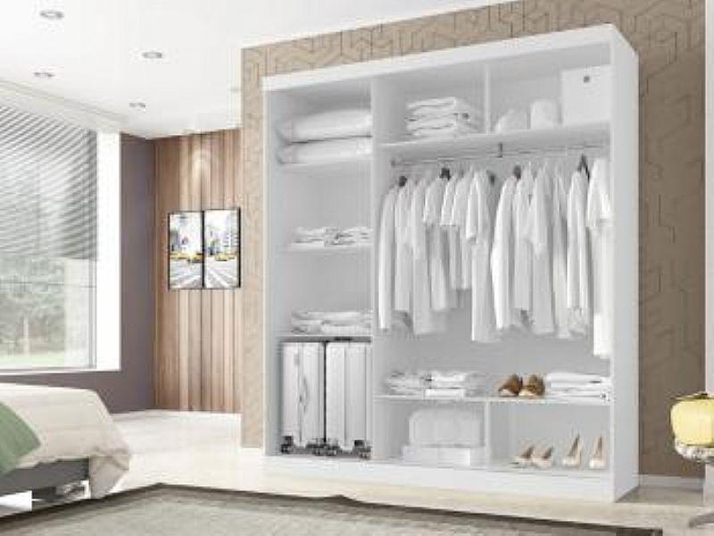 Guarda-roupa Casal 3 Portas de Correr - Poliman Moveis Madri com Espelho Casal