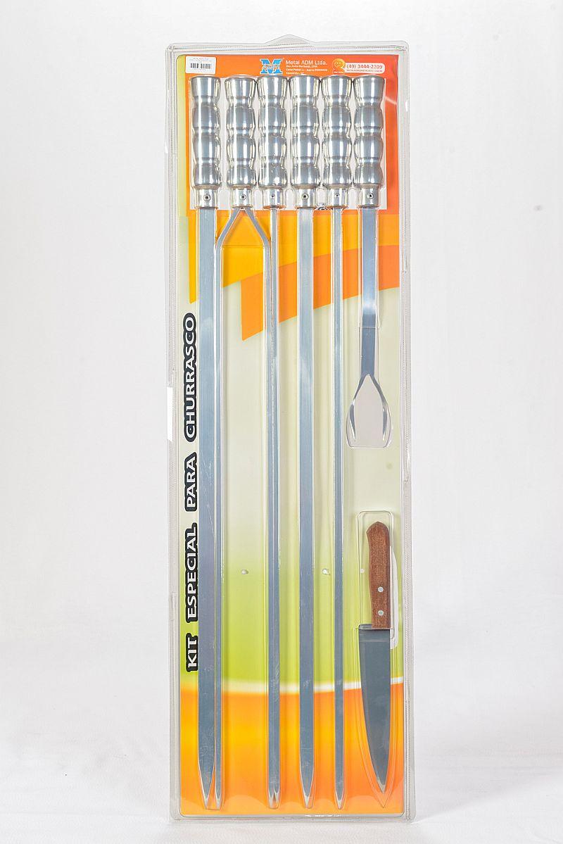 Kits Churrasco com 70 cm Lamina Aluminio  e 15 cm Cabo Madeira e Rev Aluminionio