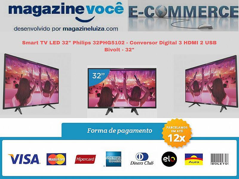 Smart tv led 32' philips nova com garantia lojista