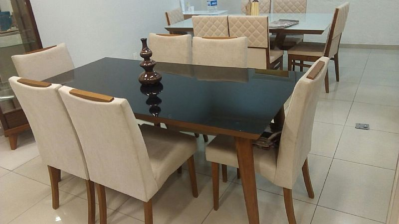 Conjunto de mesa 1000X1000 CM de madeira macica 4 cadeiras