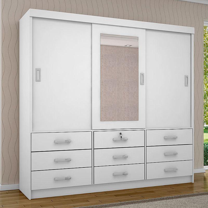 Guarda roupa casal com espelho 3 portas filadelfia
