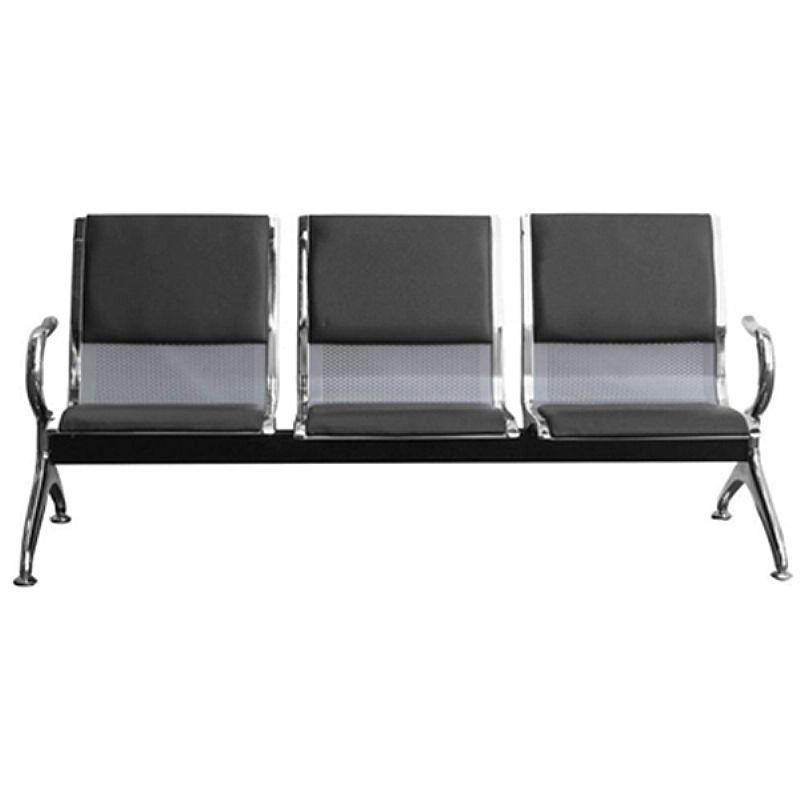 Cadeira longarina aeroporto 3 lugares cromado com estofado