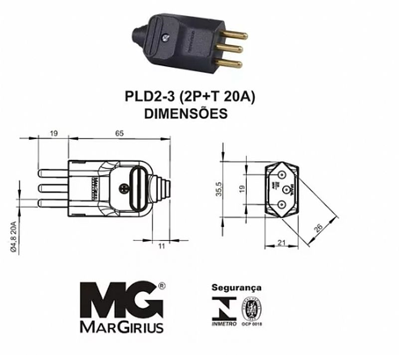 Plug macho reto 3 pinos 2 p  t 20 amperes para tomada eletrica