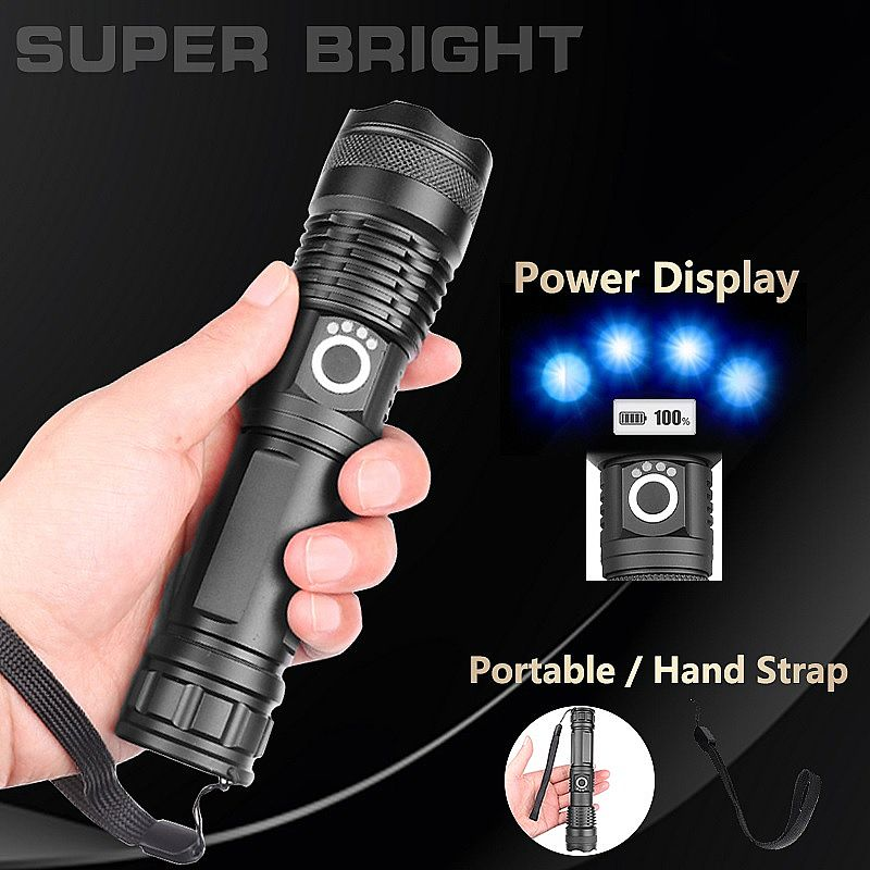 Lanterna super zoon xhp 50.2 de 5 modos usb zoom led tocha xhp50 18650 ou 26650 bateria melhor acampamento,  ao ar livre