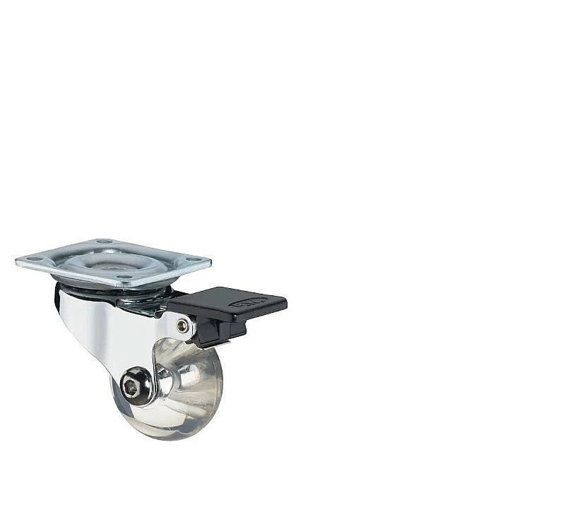 Rodinhas para móveis transparente 4 rodizio giratorios 35mm em gel 2 com trava e 2 sem trava