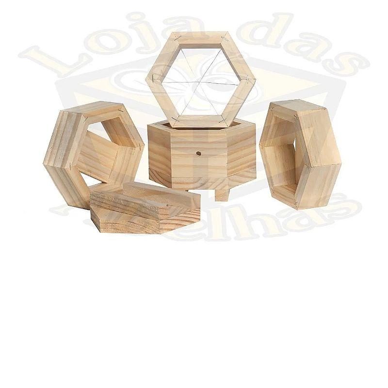 Caixa para abelha jatai sextavada  marca loja das abelhas material madeira
