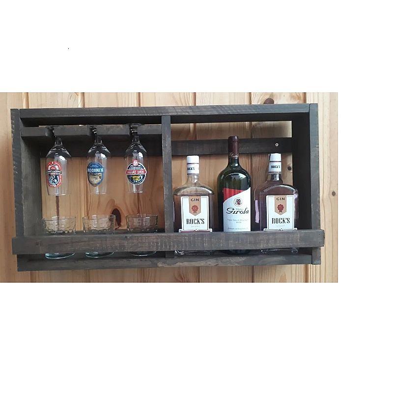 Bar adega suporte garrafa tacas copos em madeira