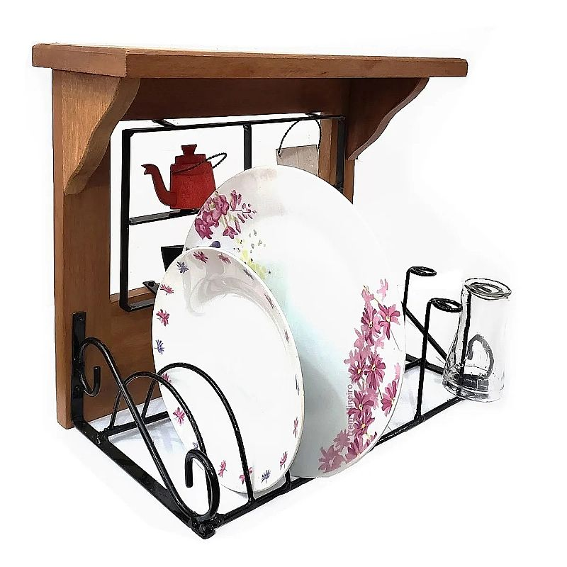 Paneleiro rustico artesanal 35cm de ferro e madeira       marca trem mineiro artesanato     modelo paneleiro - escorredor de pratos