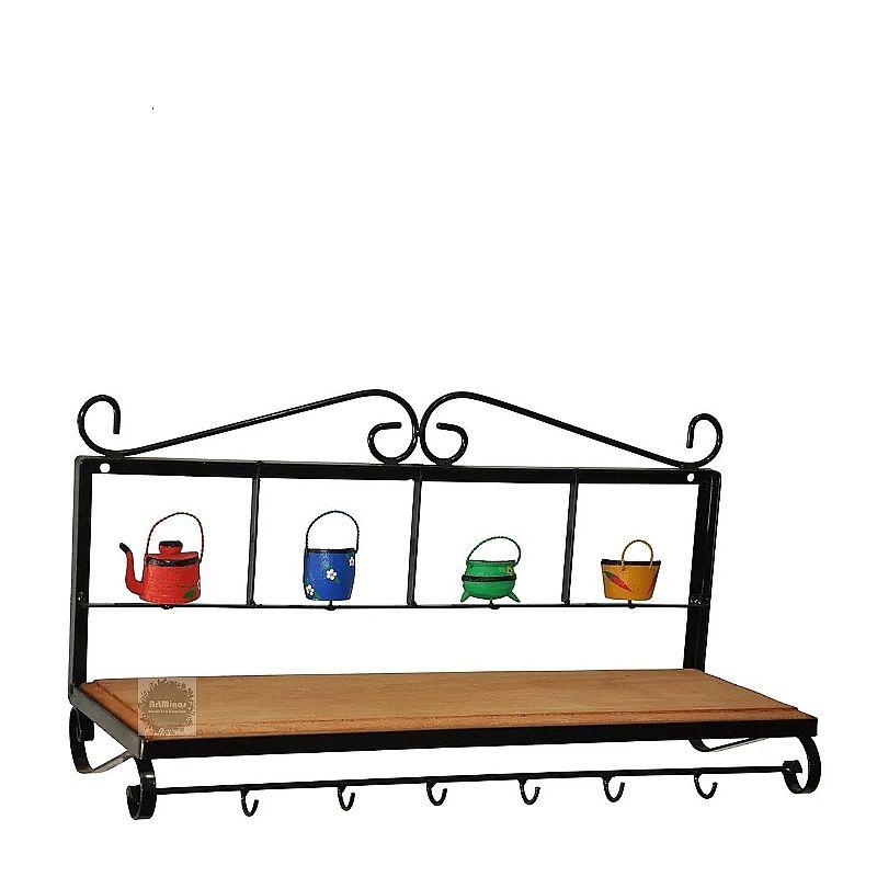 Paneleiro artesanal madeira 60cm ferro rustico  fabricante artminas artesanatos marca prateleira 1 andar