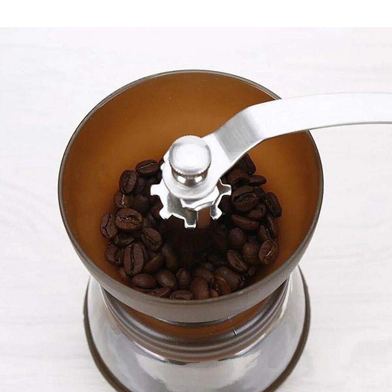 Moedor de cafe manual reservatorio em vidro e mecanismo em ceramica moinho para graos com manivela e niveis de moagem
