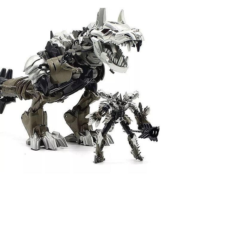 Tranformes dinobots robô bonecos dinossauro prateado-black fabricante deformation linha dinossauro