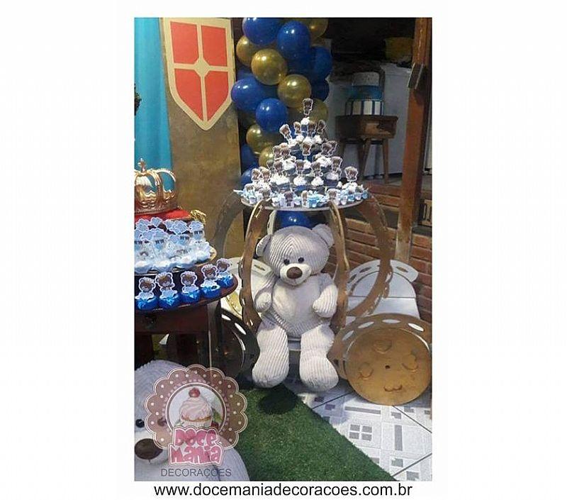 Decoracao de festa - urso rei - cha de bebe