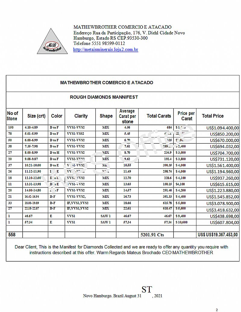 Diamantes 4-54k em bruto d-h - vs1-vvs1 2,     00 mm unidade