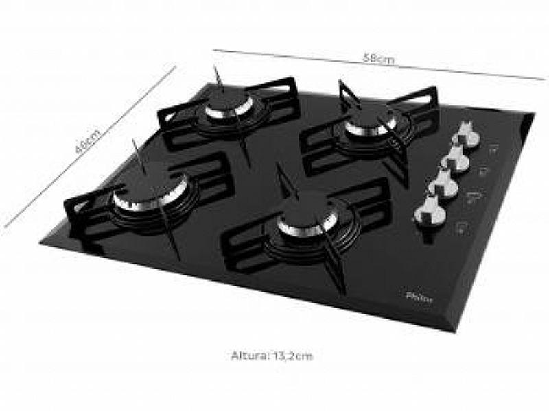 Cooktop para fogão 4 bocas philco cook chef 4 - à gas glp acendimento automatico