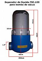 Filtro de retencao de agua para bomba de vacuo