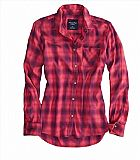 Camisa American Eagle Womens AE Boyfriend Button Down Shirt Pink
