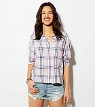 Camisa American Eagle Womens AE Cropped Button Down Shirt Blush