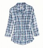 Camisa American Eagle Womens AE Cropped Button Down Shirt Light Blue