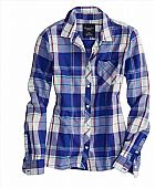 Camisa American Eagle Womens AE Real Soft Epic Flannel Shirt Violet Indigo 1354