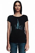 Camiseta Armani Exchange Womens Sequin Cityscape Tee Black