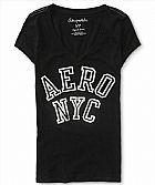 Camiseta Aeropostale Women s Block Aero NYC Graphic T Black