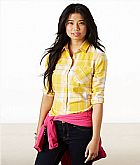 Camisa American Eagle Womens AE Real Soft Epic Flannel Shirt Yellow 1354 5729