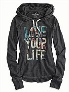 Moletom american eagle womens ae live your life hoodie t shirt ebony grey