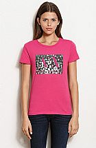 Camiseta Armani Exchange Women s Leopard Box Logo Tee Online Exclusive Roseberry