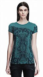 Camiseta Armani Exchange Women s Snake Print Tee Blue Smoke D5X204