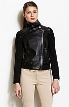 Jaqueta Armani Exchange Womens Mixed Media Funnel Neck Jacket Black Z5K142LN