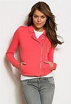 Jaqueta Armani Exchange Womens Fleece Moto Jacket Faded Coral A5M087HK